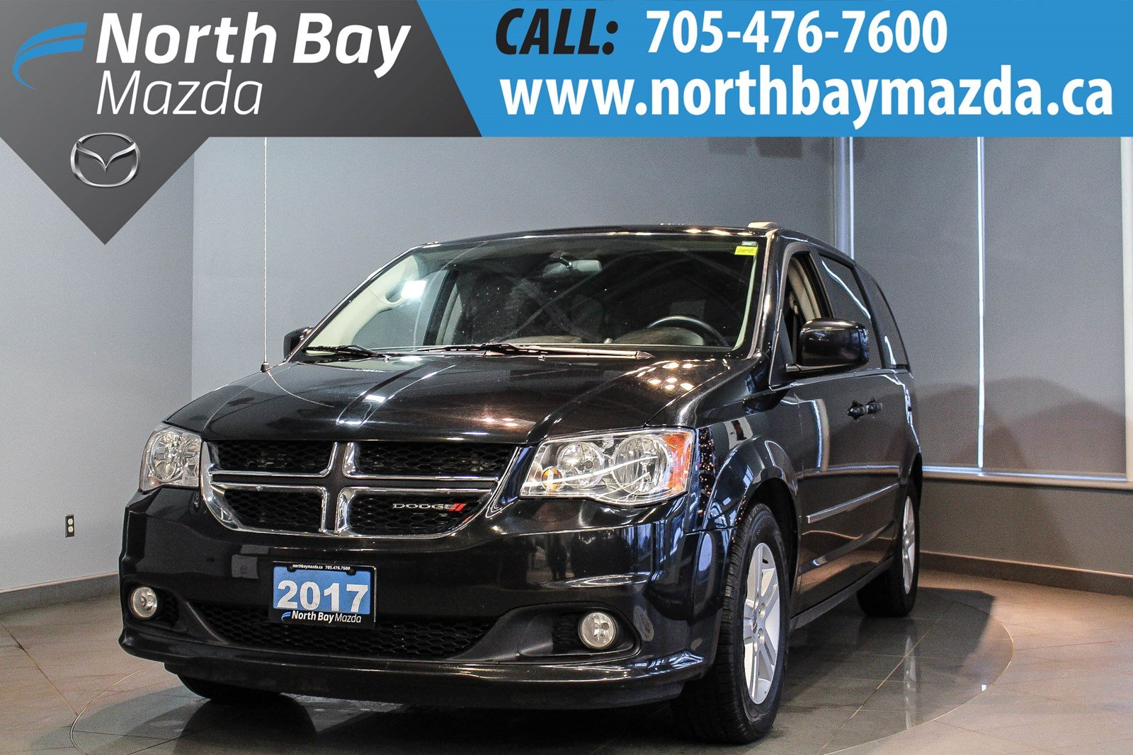 Pre-Owned 2017 Dodge Grand Caravan Crew Plus- LEATHER!! BLUETOOTH! HEATED WHEEL!!